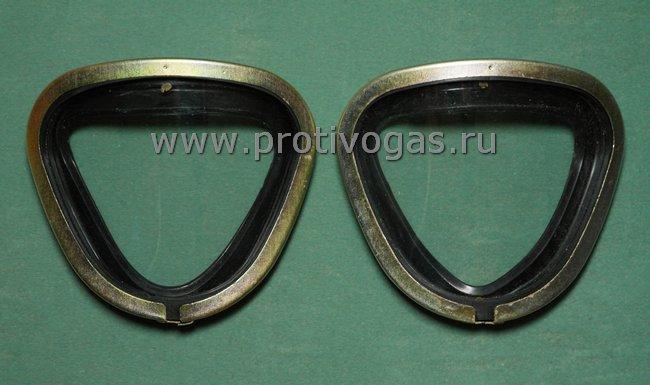 Запасные стекла для противогазов ПМК-1, ПМК-2, ГП-7ВМ и других модификаций ГП-7 и ПМК с треугольными стеклами, фотография 1