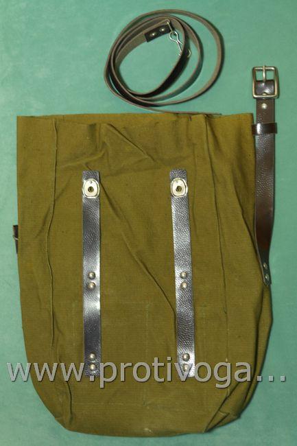 Противогазная сумка с ремнем из кожзаменителя, офицерская, формата планшет, фотография 2