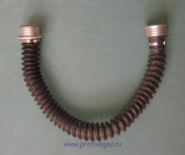 Шланг (трубка, гофра) для противогаза резиновая. Черный эластичный каучук, фотография 1